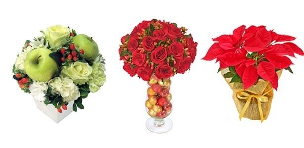Flores dão vivacidade ao ambiente: frutas e enfeites de Natal podem ser utilizados nos arranjos - Divulgação