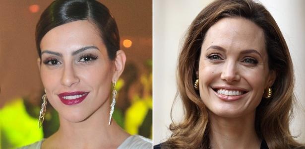 Cléo Pires e Angelina Jolie exibem sobrancelhas marcadas com a mesma tonalidade dos cabelos - Rede Globo/ Getty Images