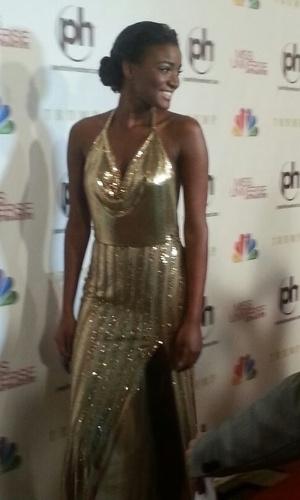19.dez.2012 - A Miss Universo 2011, a angolana Leila Lopes, chega ao tapete vermelho do Miss Universo 2012, em Las Vegas
