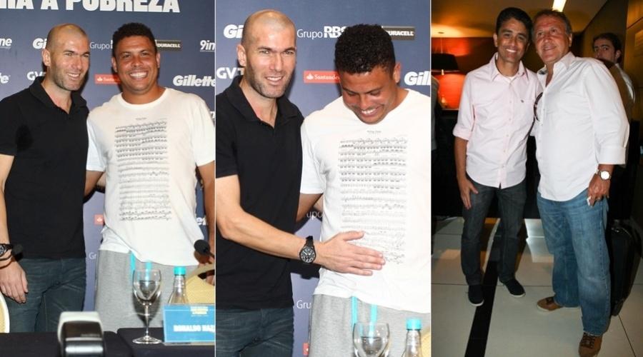 19.dez.2012 - Os ex-jogadores de futebol Ronaldo Nazário e Zinédine Zidane receberam a imprensa para uma entrevista coletiva antes da 10ª edição do Jogo Contra a Pobreza em um hotel em Porto Alegre