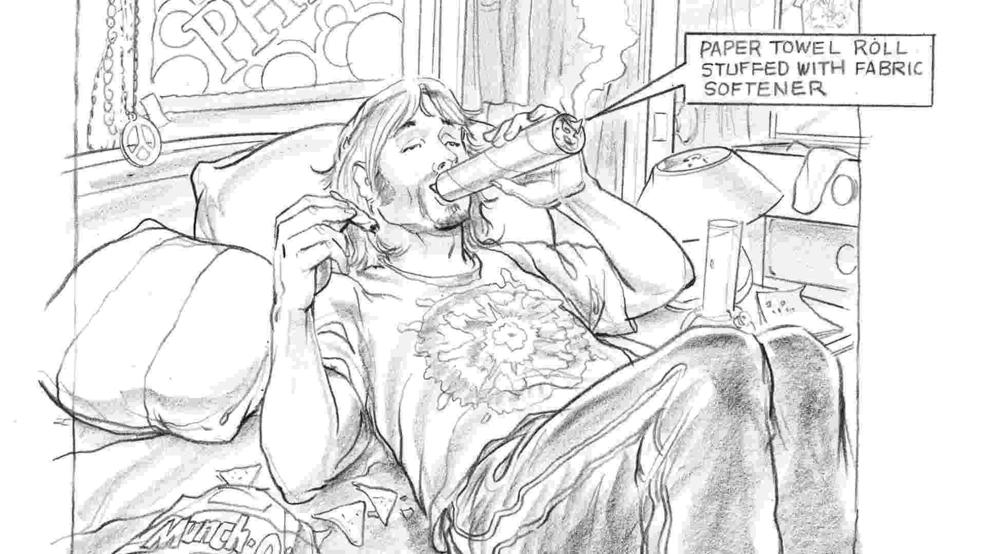 """Ilustração de """"O Livro Maldito - Tudo o Que Você Precisa Saber Se Não For Um Mané"""" mostra como fumar usando um rolo de papel toalha - Divulgação"""