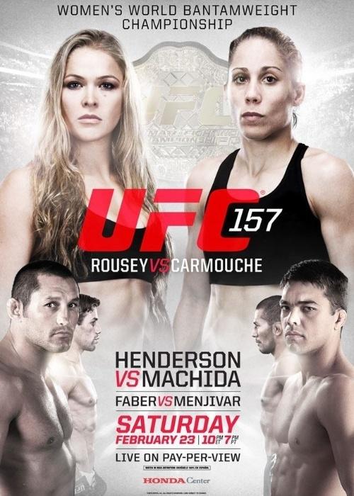 Pôster com a primeira luta feminina do UFC, na edição 157, que terá a disputa do cinturão peso galo entre Ronda Rousey e Liz Carmouche