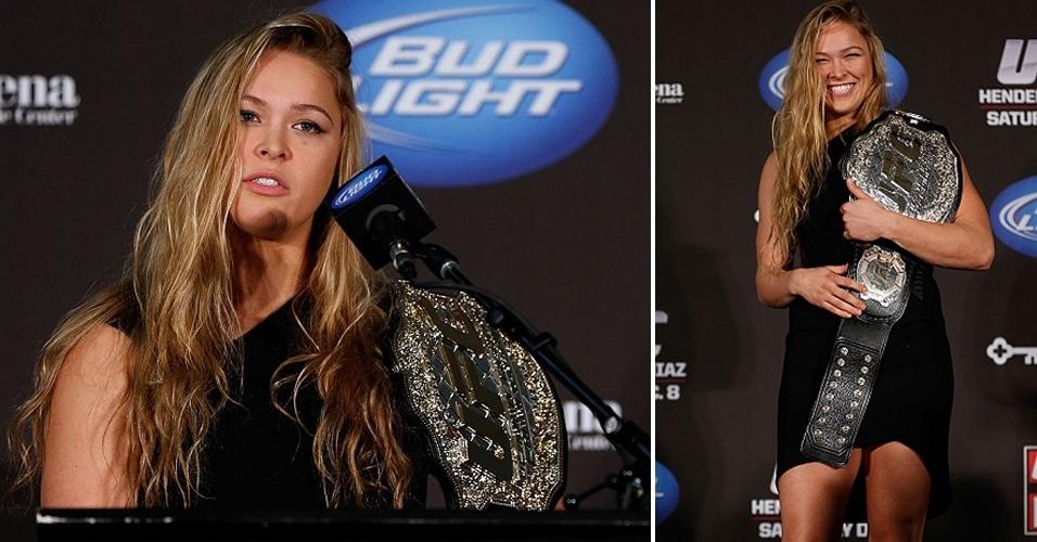 Ronda Rousey com o cinturão do UFC