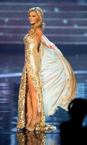 19.dez.2012 - Miss África do Sul, Melinda Bam, desfila com traje de gala no Miss Universo 2012, realizado no hotel Planet Holywood, em Las Vegas. A candidata não foi aprovada no Top 5 do concurso