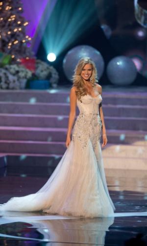 19.dez.2012 - Miss Austrália, Renae Ayris, desfila com traje de gala no Miss Universo 2012, realizado no hotel Planet Holywood, em Las Vegas
