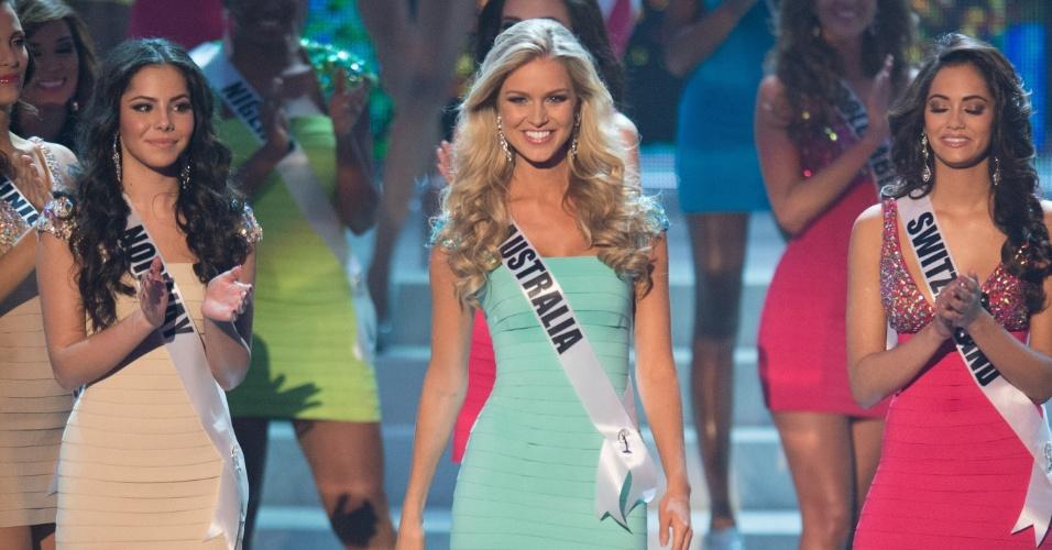 19.dez.2012 - Miss Austrália, Renae Ayris, se apresenta no Miss Universo 2012 realizado no hotel Planet Holywood, em Las Vegas. Ela está entre as 16 finalistas do concurso