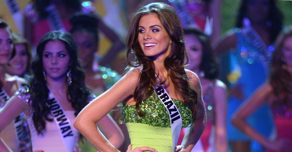 19.dez.2012 - Miss Brasil, Gabriela Markus, sorri ao ser aprovada entre as 16 finalistas do Miss Universo 2012, realizado no hotel Planet Holywood, em Las Vegas