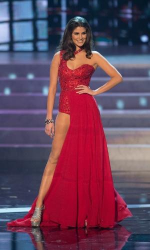 19.dez.2012 - Miss México, Karina Gonzalez, desfila com traje de gala no Miss Universo 2012, realizado no hotel Planet Holywood, em Las Vegas. A candidata mexicana não foi aprovada no Top 5 do concurso