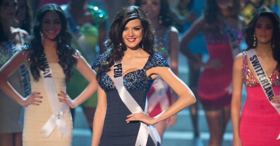 19.dez.2012 - Miss Peru, Nicole Faverón, se apresenta no Miss Universo 2012 realizado no hotel Planet Holywood, em Las Vegas. Ela está entre as 16 finalistas do concurso