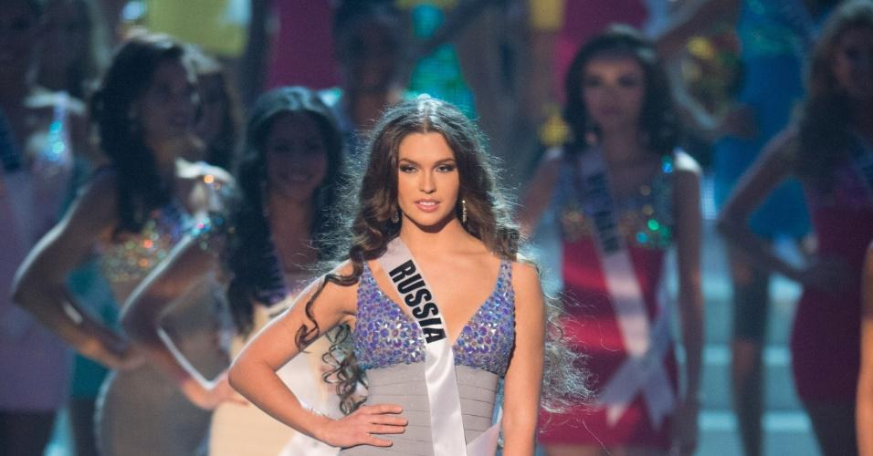 19.dez.2012 - Miss Rússia, Elizaveta Golanova, se apresenta no Miss Universo 2012 realizado no hotel Planet Holywood, em Las Vegas. Ela está entre as 16 finalistas do concurso