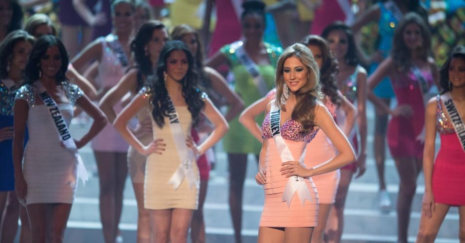 19.dez.2012 - Miss Turquia, Cargil Ozkul, se apresenta no Miss Universo 2012 realizado no hotel Planet Holywood, em Las Vegas. Ela está entre as 16 finalistas do concurso