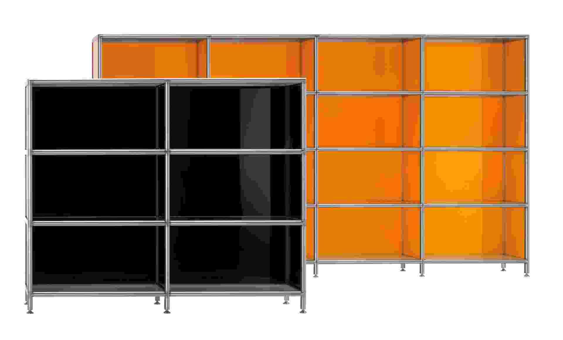 A estante Boox ? Rexite, desenhada por Alberto Basaglia e Natalia Rota Nodari, possui prateleiras modulares com estrutura de alumínio polido. Na Cod: Creative Original Design (www.codbr.com), o módulo na cor preta mede 184 cm por 143 cm por 35 cm e custa a partir de R$ 10.051; na cor alaranjado, o módulo (244 cm por 186 cm por 35 cm) sai a partir de R$ 25.184 I Preços pesquisados em dezembro de 2012 e sujeitos a alterações - Divulgação