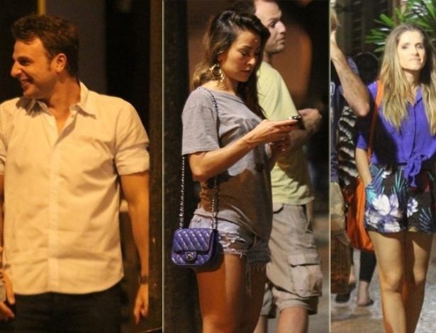 20.dez,2012 - Cássio Reis, Sabrina Sato e Ingrid Guimarães saem com amigos para jantar no Leblon, Rio de Janeiro