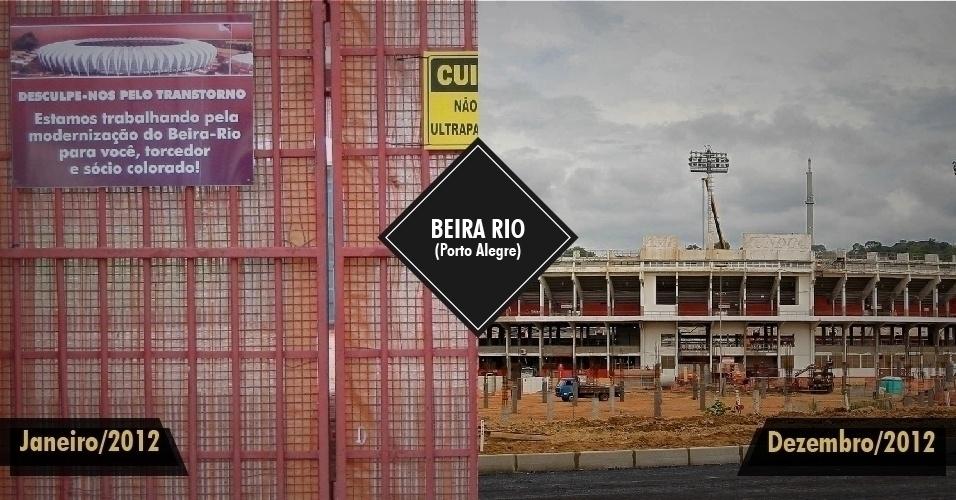 21.dez.2012 - Em janeiro, o Internacional ainda mandava seus jogos e treinava no Beira-Rio, em Porto Alegre, quando a reforma do estádio recomeçou. As obras estavam paralisadas desde maio de 2011. Em dezembro, com 50% das obras concluídas, começou a ser colocada a nova cobertura. A previsão de entrega é para dezembro de 2013