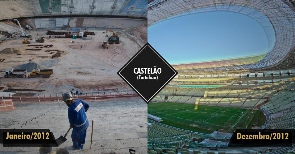 21.dez.2012 - O Castelão, em Fortaleza, foi o primeiro estádio a ser inaugurado para a Copa de 2014, no dia 16 de dezembro. O estádio foi inaugurado dentro do prazo previsto, mas a primeira partida de futebol deve ocorrer em janeiro. O local também será usado na Copa das Confederações, em junho de 2013.