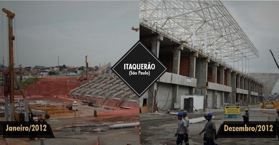 21.dez.2012 - O estádio do Corinthians, em São Paulo, seguiu com as obras aceleradas ao longo de 2012, quando foi implantado um terceiro turno de trabalho, noturno. O estádio começou o ano com 23% e chega a dezembro com 60% das obras concluídas. A previsão de conclusão é para dezembro de 2012.
