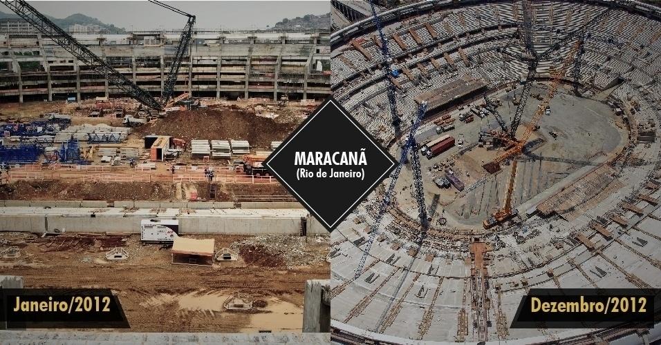 21.dez.2012 - O Maracanã chegou a dezembro com mais de 80% das obras concluídas. A obra atrasou e o cronograma está apertado, já que a Fifa espera a entrega do estádio dentro do prazo previsto, em fevereiro de 2013. O local receberá a Copa das Confederações.