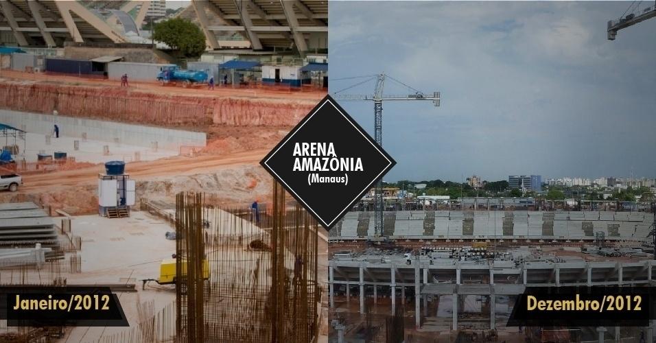 21.dez.2012 - Problemas de financiamento atrasaram as obras do estádio em Manaus, que iniciaram o ano 27% finalizadas e chegam ao fim de 2012 com apenas 50% de conclusão. O prazo de entrega, inicialmente previsto para meados de 2013, foi atrasado para o final do ano que vem.