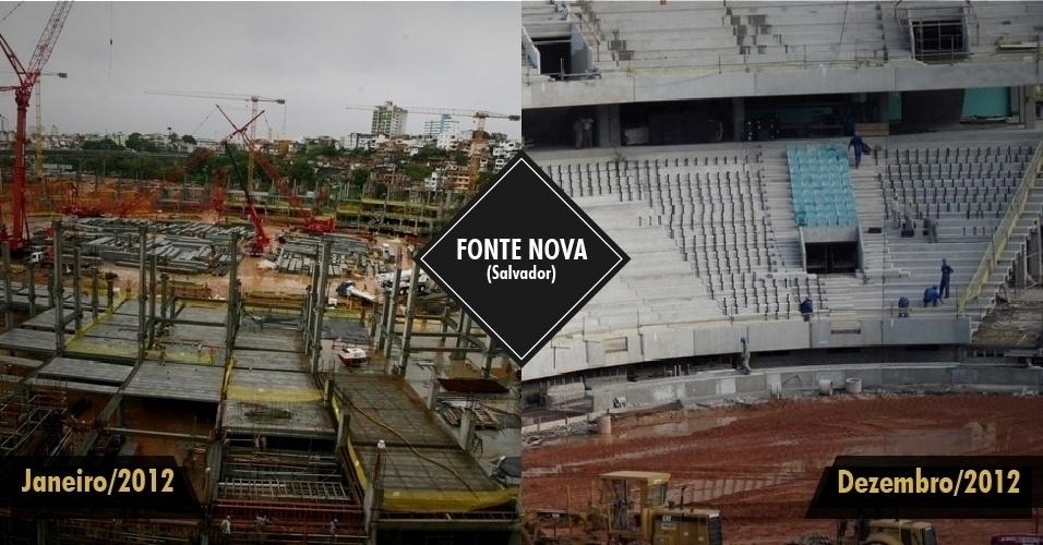 21.dez.2012 ? O estádio de Salvador começou o ano com cerca de 40% das obras completas e termina dezembro com 85% delas finalizadas. A Arena recebe três partidas na Copa das Confederações em 2013.