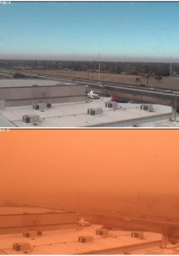 22.dez.2012 - Imagem de câmera mostra rodovia em Lubbock, no Texas (EUA), antes e depois de uma tempestade de poeira
