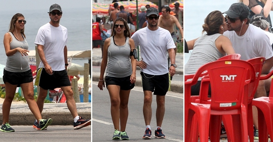 23.dez.2012 - Marcelo Serrado e a mulher, Roberta Fernandes, caminham na orla de Ipanema, no Rio de Janeiro