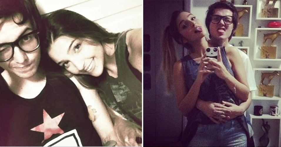 23.dez.2012 - Pe Lanza, vocalista e guitarrista do Restart, publica foto com sua nova namorada, Gabriela Merjan