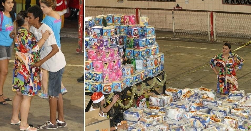 23.dez.2012 - Preta Gil distribui cestas de Natal para a Comunidade do Complexo do Alemão, com a renda do bazar beneficente realizado pela cantora, no Rio de Janeiro