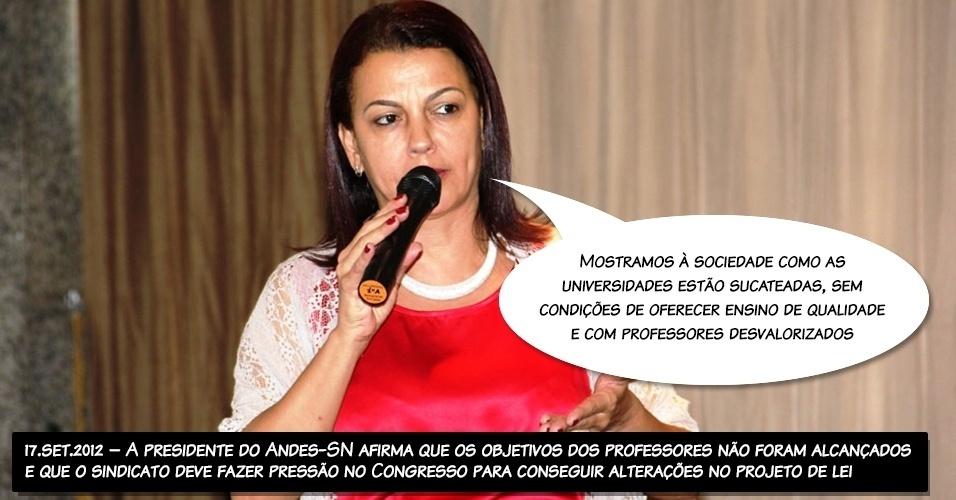 17.set.2012 - A presidente do Andes-SN afirma que os objetivos dos professores não foram alcançados e que o sindicato deve fazer pressão no Congresso para conseguir alterações no projeto de lei
