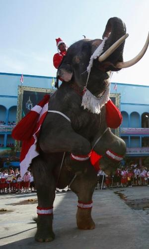 24.dez.2012 - Elefante vestido de Papai Noel faz performance durante celebração de Natal em escola em Ayutthaya (a 70 km de Bancoc)