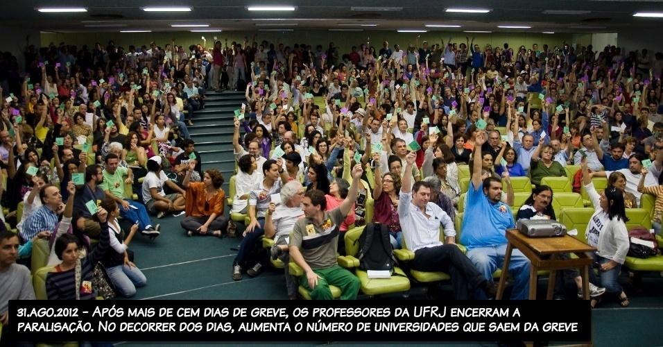 31.ago.2012 - Após mais de cem dias de greve, os professores da UFRJ encerram a paralisação. No decorrer dos dias, aumenta o número de universidades que saem da greve