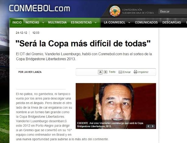 Entrevista do técnico Vanderlei Luxemburgo ao site oficial da Conmebol (24/12/2012)