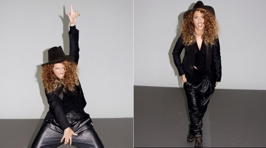 """26.dez.2012 - Beyoncé fez um ensaio inspirado no cantor Michael Jackson. As imagens foram divulgadas pela cantora. Na legenda, Beyoncé escreveu """"MJ' iniciais do cantor que faleceu em 2009"""