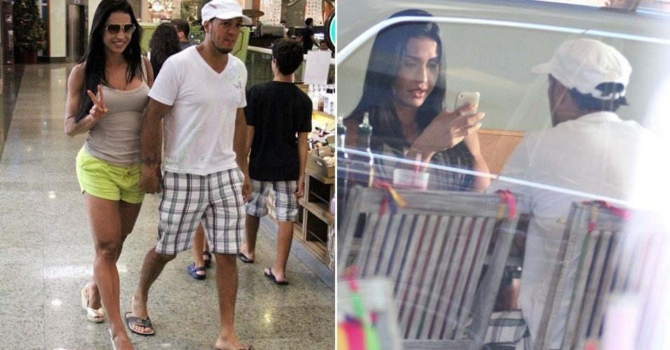 26.dez.2012 - Gracyanne Barbosa e Belo passeiam e almoçam em shopping do Rio de Janeiro