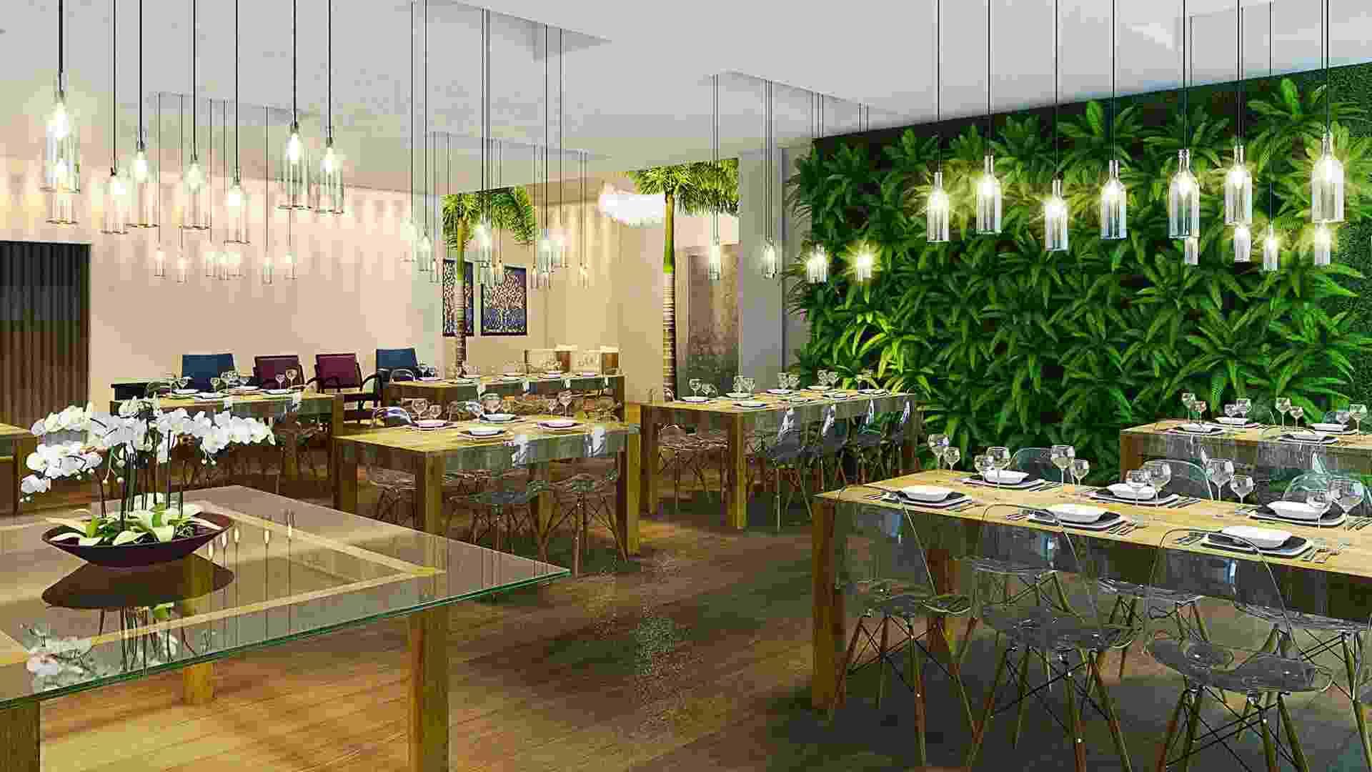 Casa Cor MT - 2012: o Restaurante, projetado pela arquiteta Flávia Zandonadi, tem uma de suas paredes antecedida por um jardim vertical - Levi Mendes Junior/ Divulgação