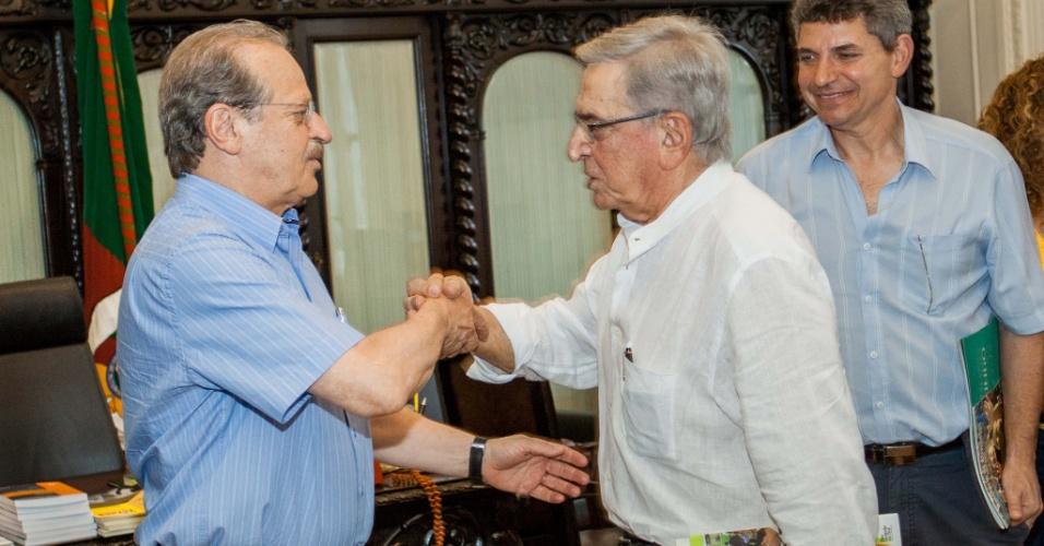Governador do Rio Grande do Sul, Tarso Genro, recebe o presidente do Grêmio, Fábio Koff, para reunião sobre o entorno da Arena (26/12/12)