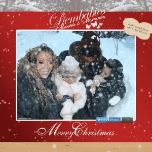 27.dez.2012 - A cantora Mariah Carey tira foto com os gêmeos Moroccan e Monroe e seu marido Nick Cannon. A família se diverte durante a neve - Reprodução/Facebook
