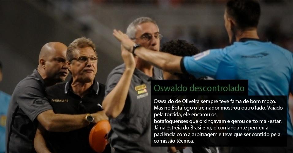 Oswaldo de Oliveira sempre teve fama de bom moço. Mas no Botafogo o treinador mostrou outro lado. Vaiado pela torcida, ele encarou os botafoguenses que o xingaram e gerou cetro mal-estar. Já na estreia do Brasileiro, o comandante perdeu a paciência com a arbitragem e teve que ser contido pela comissão técnica.