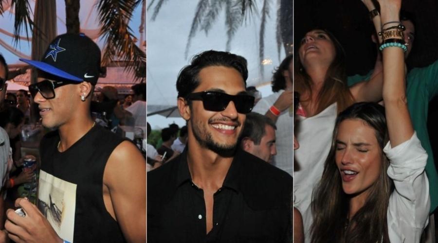 27.dez.2012 - O jogador Neymar, o ator Raphael Viana e a modelo Alessandra Ambrósio curtiram uma festa que aconteceu em Jurerê, Santa Catarina