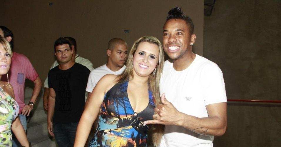 27.dez.2012 - Robinho reaparece com ex-mulher em festa de pré-reveillon no Rio de Janeiro