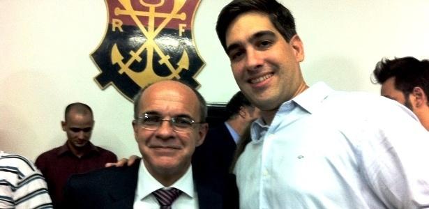 Rafael Strauch, ao lado presidente do Fla, Eduardo Bandeira de Mello, terá que responder a Jutiça