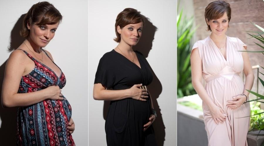 28.dez.2012 - Grávida de quatro meses, Bruna Di Tullio visitou uma loja de roupas para gestantes em Moema. São Paulo. A atriz posou experimentando algumas peças. Bruna está grávida de um menino que irá se chamar Vicente