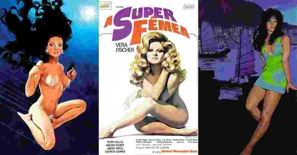 """A atriz francesa Brigitte Bardot, como personagem da série """"007"""", e a brasileira Vera Fischer, no pôster de """"A Super Fêmea"""", ao centro - Benício"""