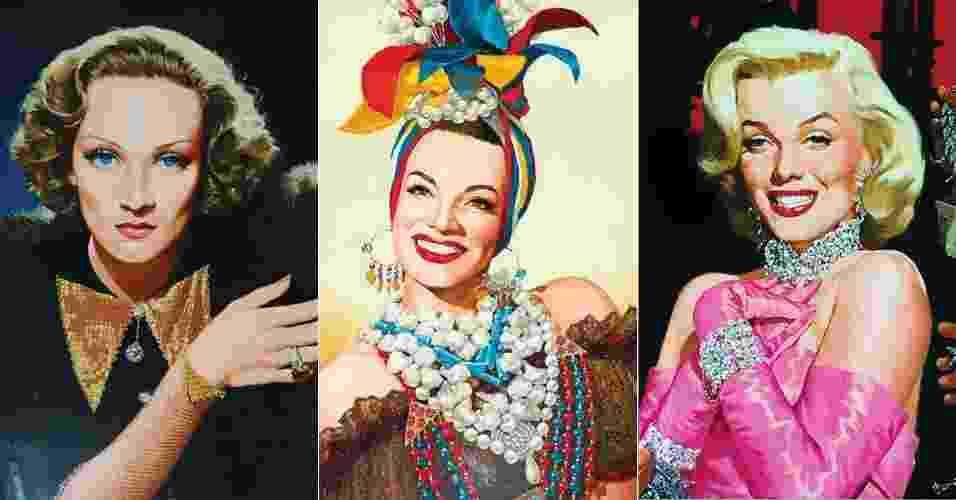 Ilustrações de Marlene Dietrich, Carmen Miranda e Marilyn Monroe assinadas pelo brasileiro Benício - Benício