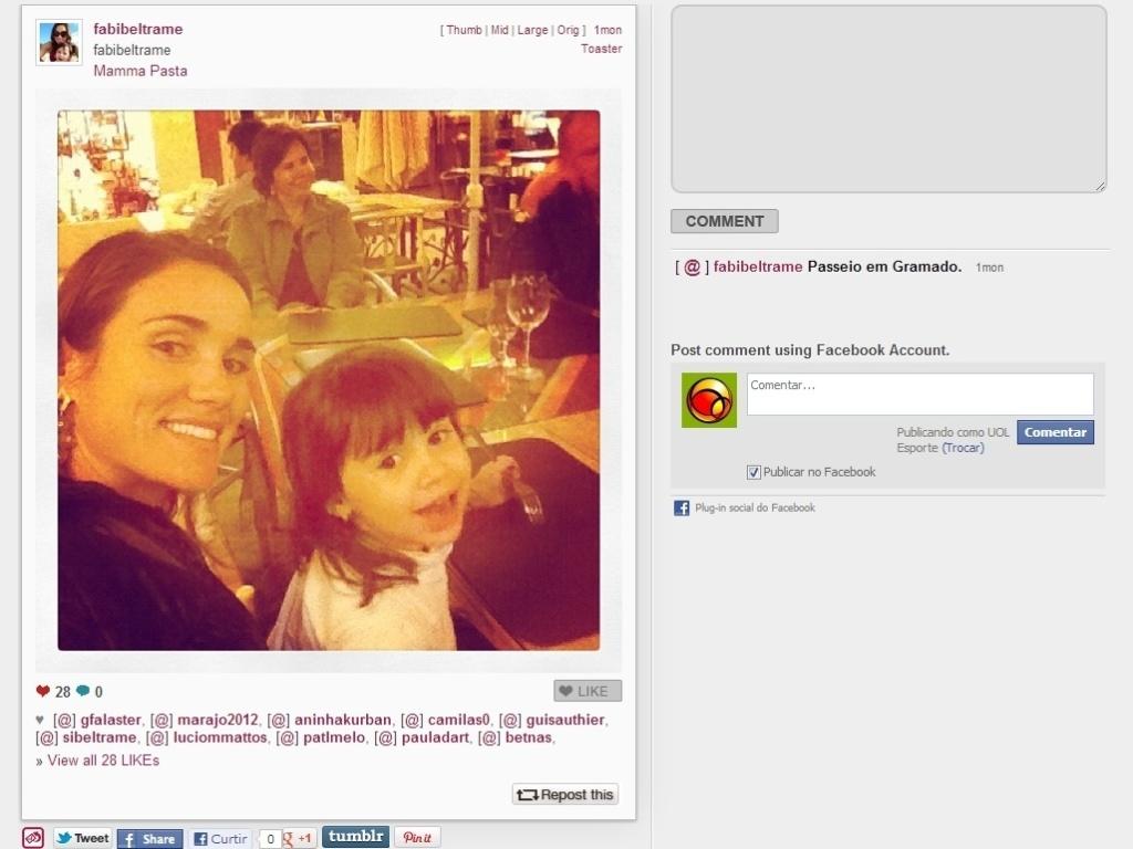 Mamãe coruja, Fabiana Beltrame viajou com a filha e registrou vários momentos com a pequena na rede social