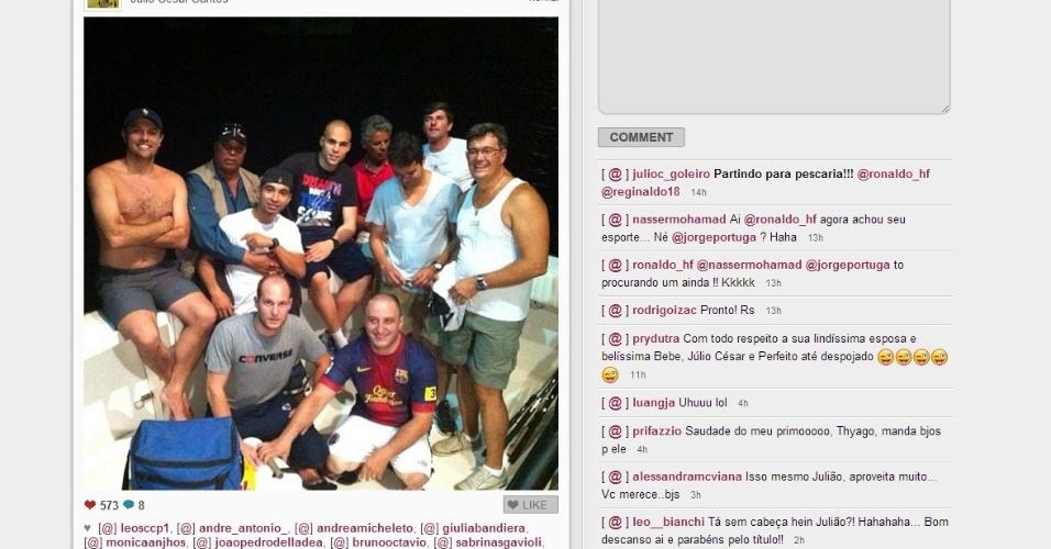 Pacato, Julio Cesar foi ao Instagram para dividir com seus seguidores a preparação para uma pescaria com os amigos