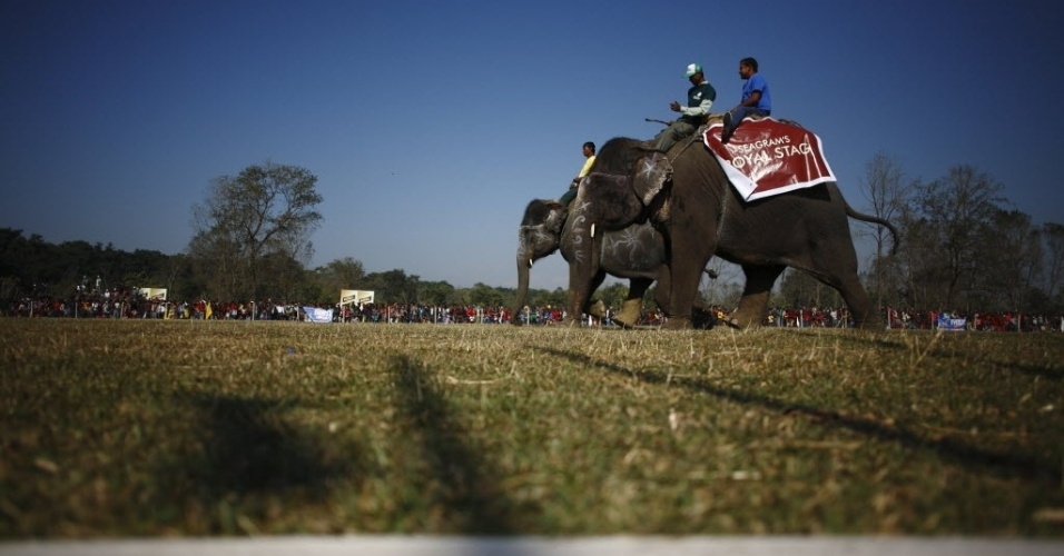 Uma corrida de elefante também fez parte do evento de três dias, assim como desfile de moda para os animais