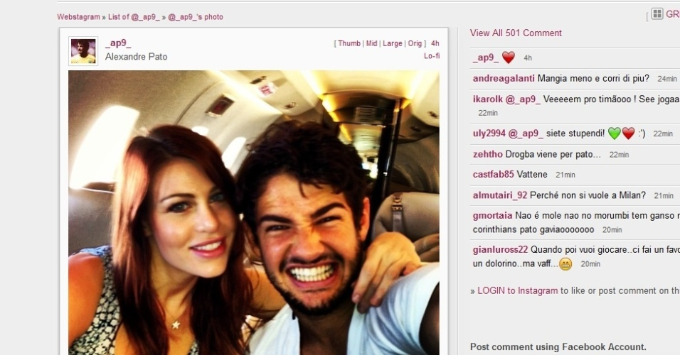 Pato posta foto ao lado da namorada Barbara Berlusconi no Instagram (29/12/2012)