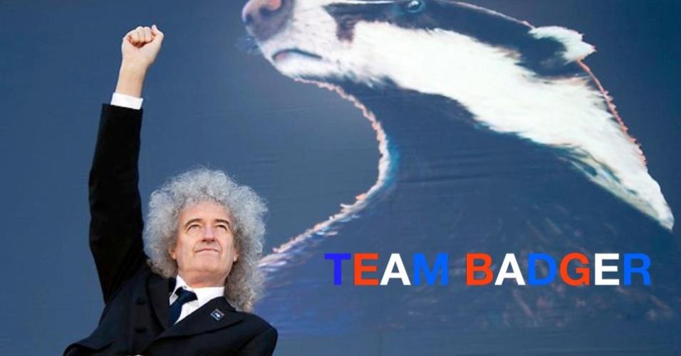 31.dez.2012 - O ex-guitarrista do Queen, Bryan May, foi eleito a personalidade do ano pela Peta, ONG de defesa animal, por sua luta contra a matança dos texugos no Reino Unido