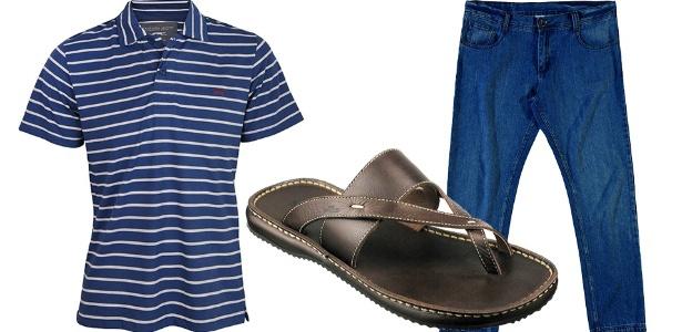 Chinelos em couro são mais casuais do que os de borracha e podem ser usados com calça jeans para ir a bares, cinemas e festas informais - Divulgação
