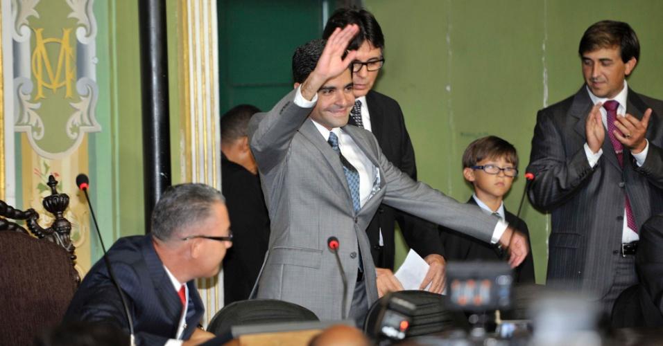 1º.jan.2013 - O prefeito eleito de Salvador, Antônio Carlos Magalhães Neto (DEM), toma posse na Câmara Municipal